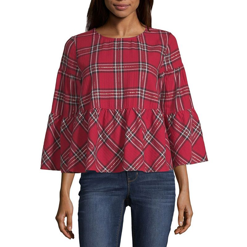 4524222adf6 Peyton & Parker Long Sleeve Round Neck Woven Blouse | Products ...