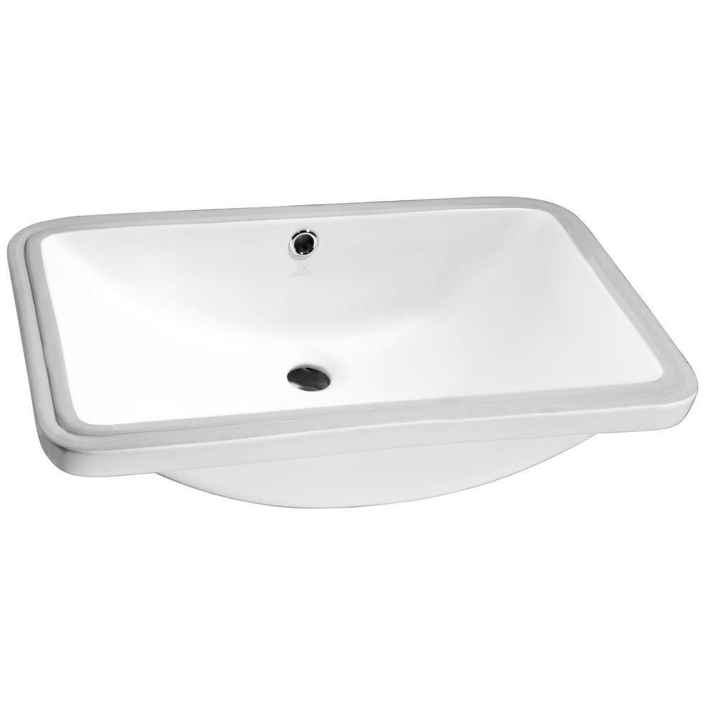 Anzzi Lanmia Series 7 25 In Ceramic Undermount Sink Basin In White Ceramic Undermount Sink Undermount Sink Sink