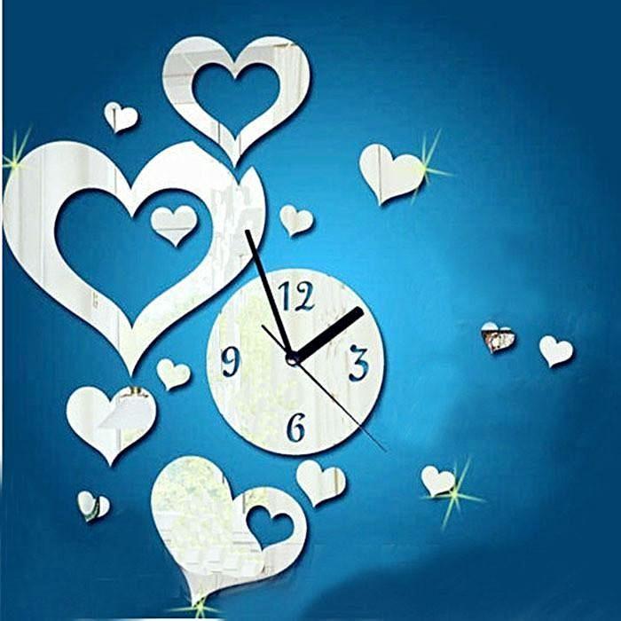 Love Heart Shaped DIY Wall Clock 3D Mirror Surface Sticker Home Wall Decor