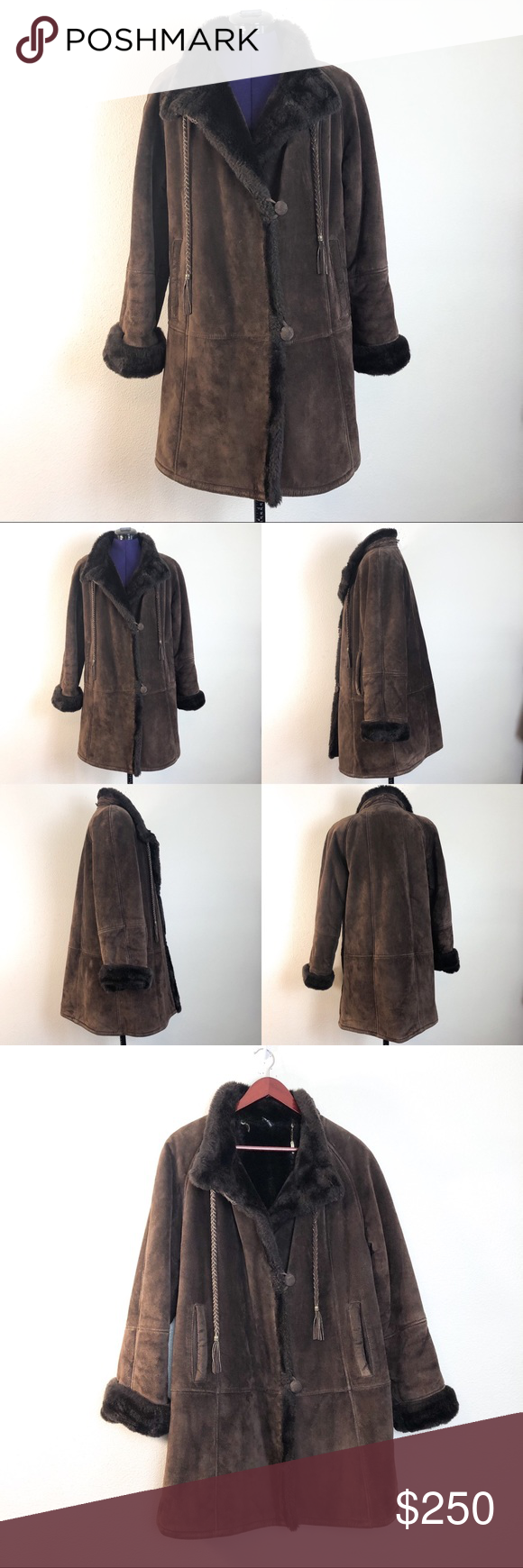Gallery Brown Genuine Leather Faux Fur Jacket Gallery