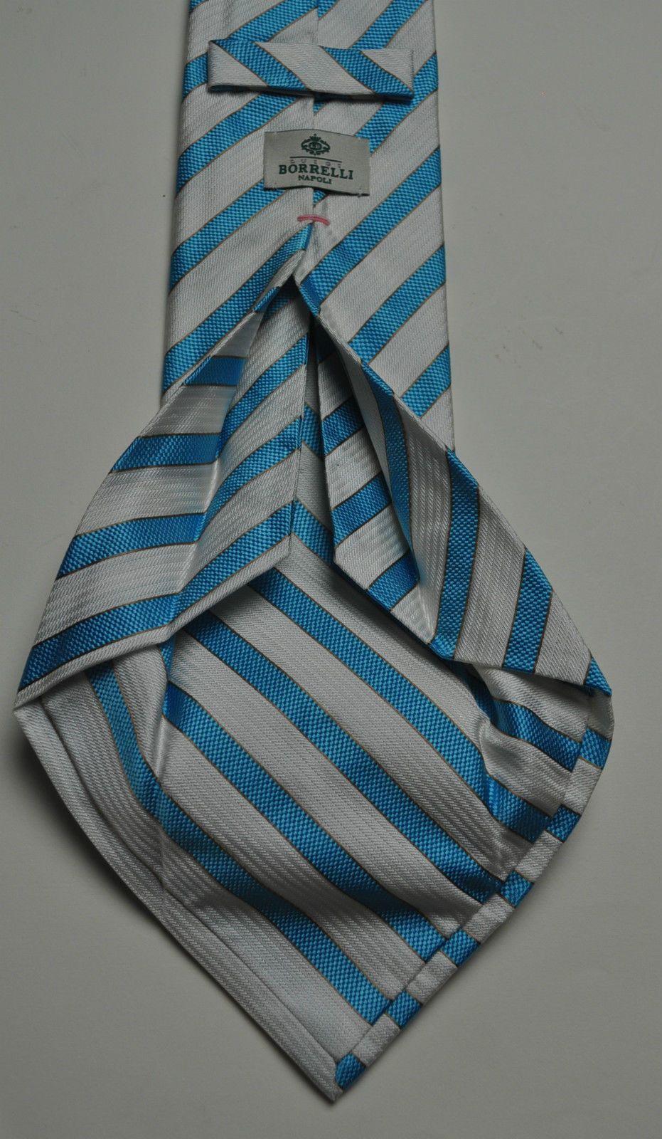 1f86451f865e13 NWT BORRELLI Napoli 7 Fold Silk Tie Handmade in Italy