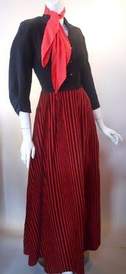 Corduroy dressing gown with scarf, 1940's.