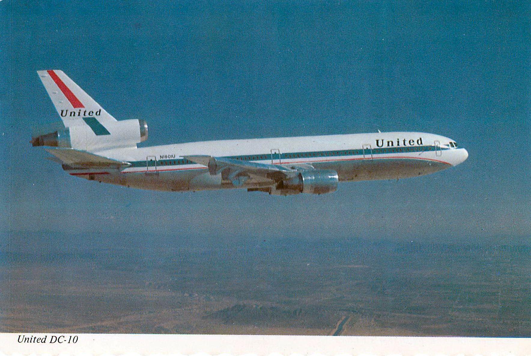 United Airlines Douglas DC-10 Postcard