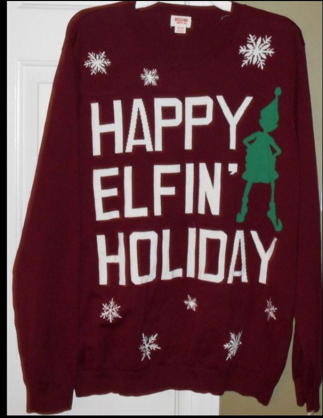 Happy Elfin' Holiday Tacky Maroon Ugly Christmas Sweater