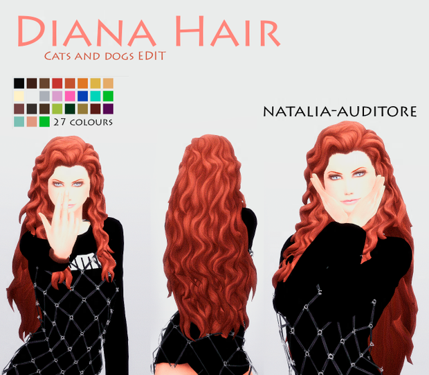 Curly Hair Download Sims 4 Cc: Diana Hair Inspired On DC Comics