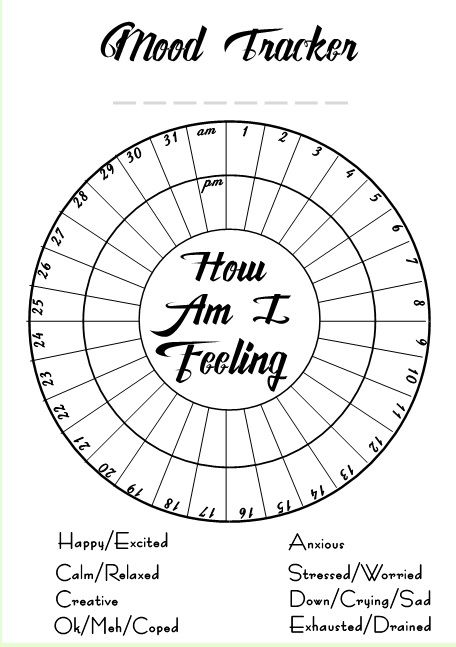Mood Tracker just add your own colours to the feelings and