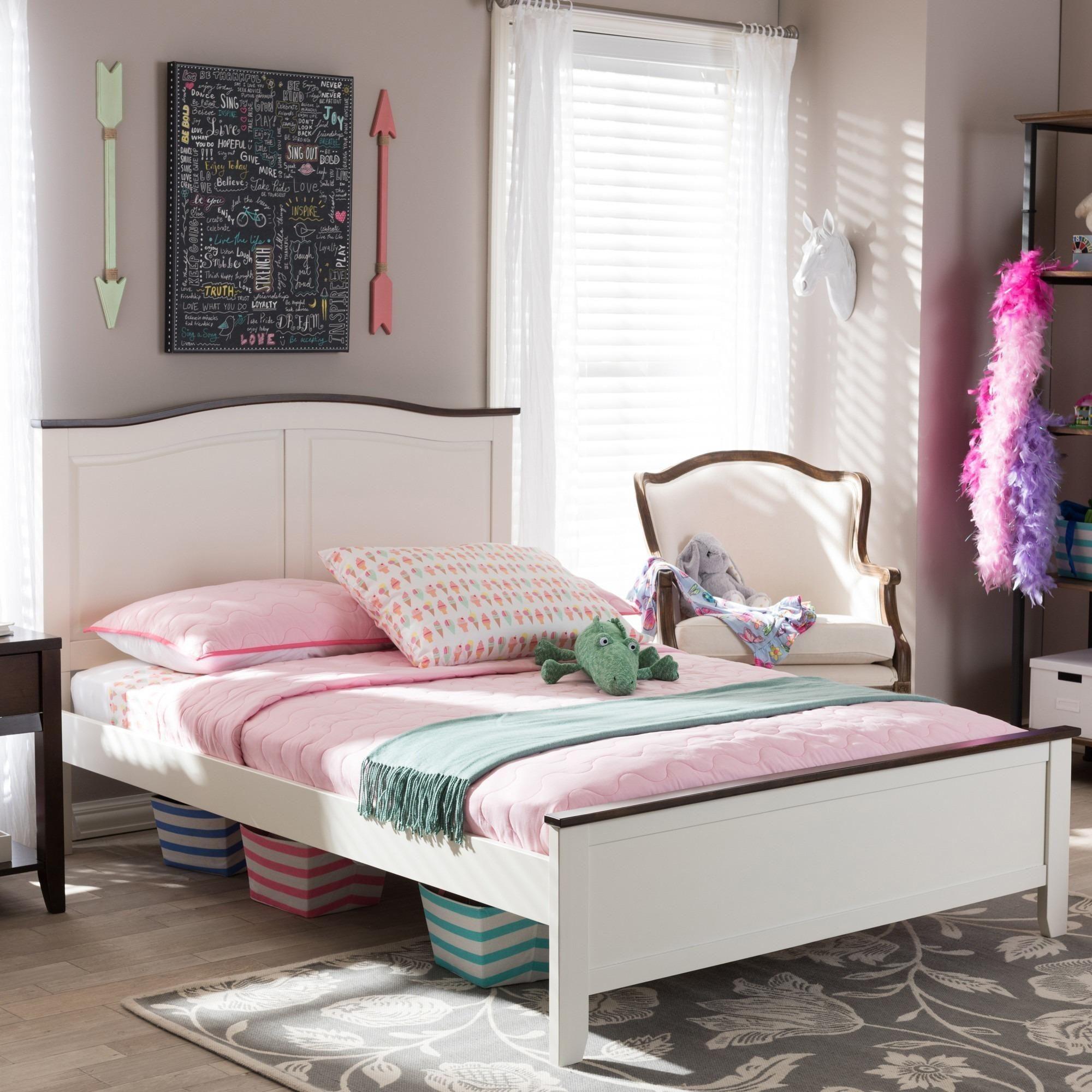 Harry cream linen full panel bed