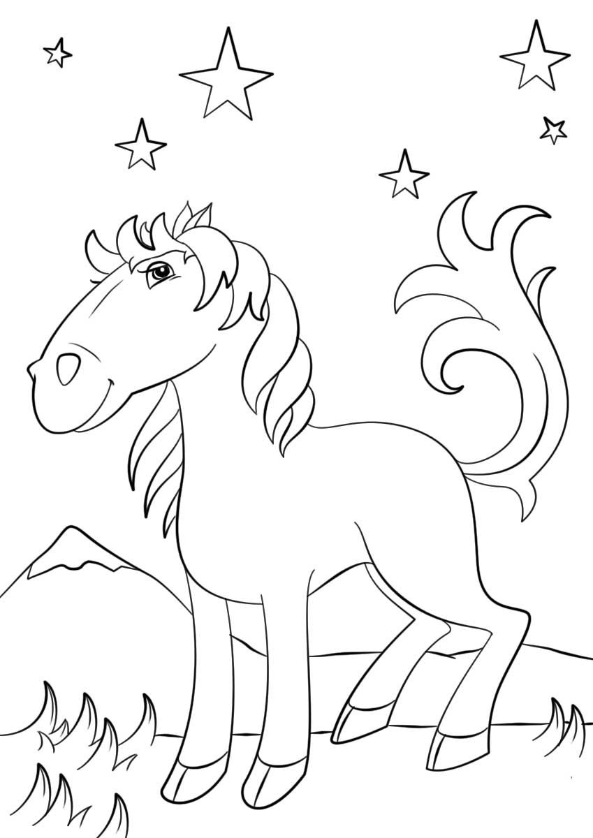 Cartoon Mustang Horse Coloring Page Horse Coloring Pages Coloring Pages Horse Coloring [ 1200 x 849 Pixel ]
