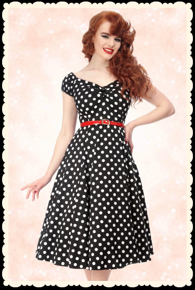 1efe7400b35 Robe rétro swing pin-up années 50 Dolores pois noir   blanc - Toutes les  robes Robes évasées - missretrochic.com