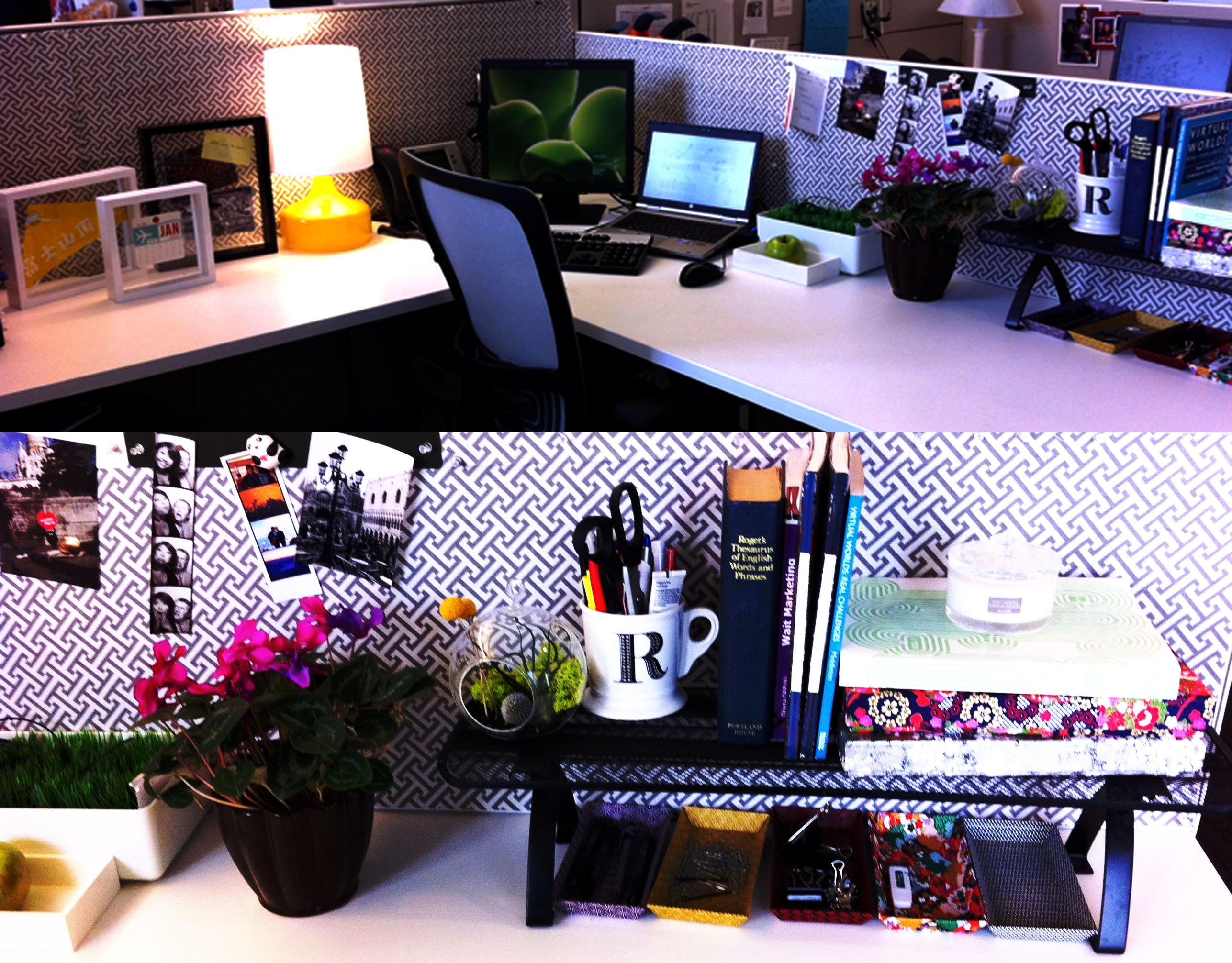 Cute Office Ideas: Decorated Cubicles! I Like How The Colors Go Well With