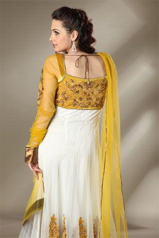 0a89d749ad Seasons India Yellow White Anarkali back White Anarkali, Indian Wear, Indian  Outfits, Indian