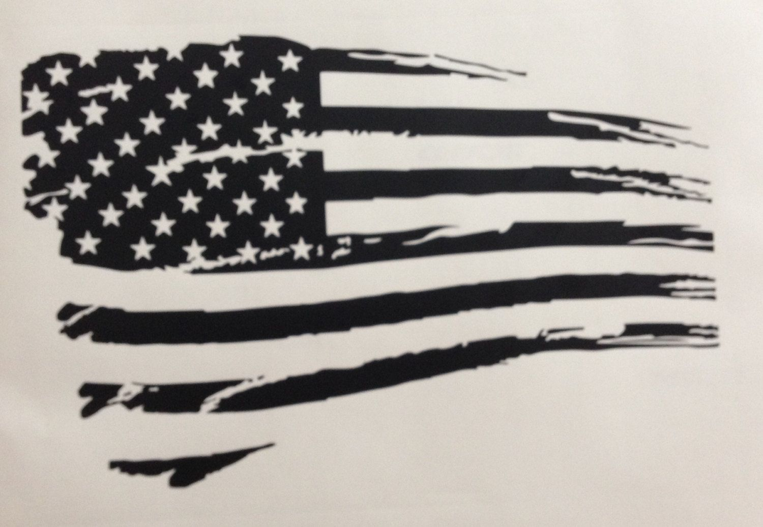 Tattered American Flag Black And White Rustic