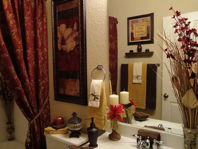 Silver Fixures Bronze Accessories Earth Tone Towels Small Bathroom Decor Sets