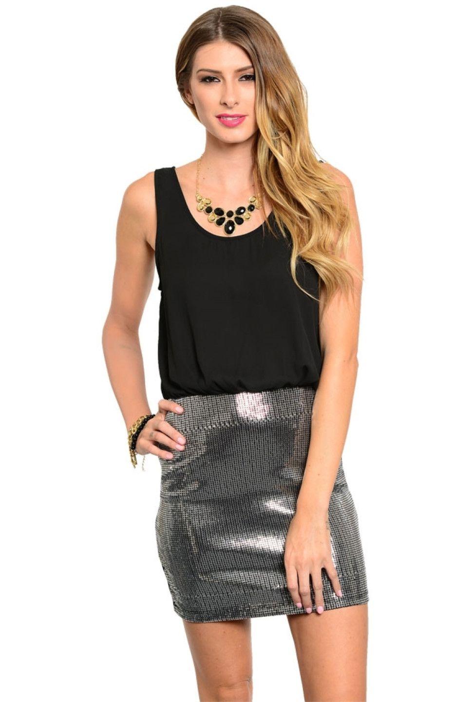 Sleeveless chiffon cocktail dress w sequin skirt u bodilove fashion