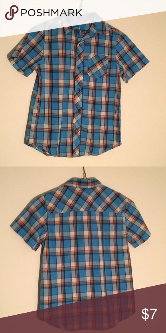 f7748310577048 Plaid 100% cotton - blue, orange, black, white. Short sleeve, button down  plaid shirt. Old Navy Shirts & Tops Button Down Shirts