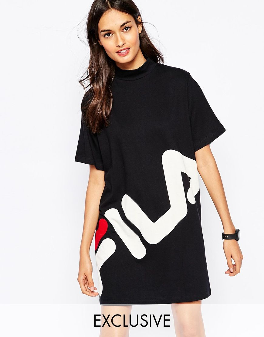fila high neck t shirt dress with large front logo robe t shirt robe fila robe sweat