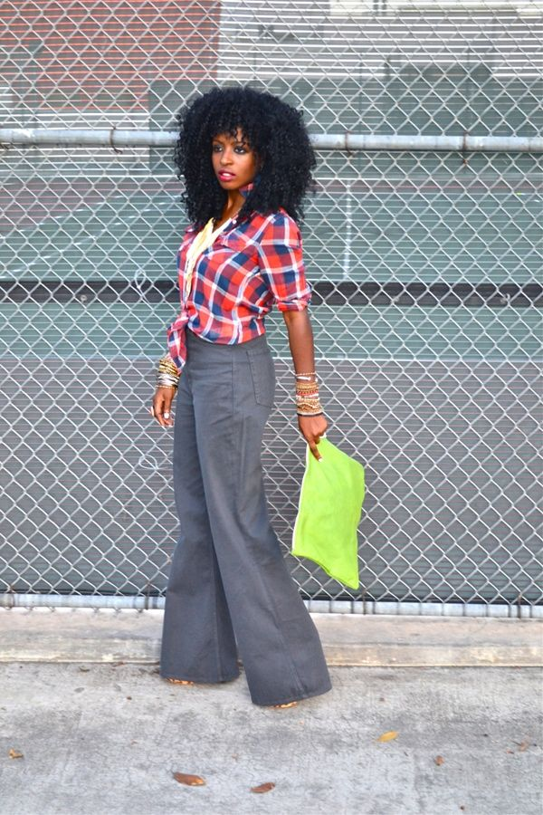 Style Pantry | Plaid Shirt   70s High Waist Twill Wide Leg Pants ...