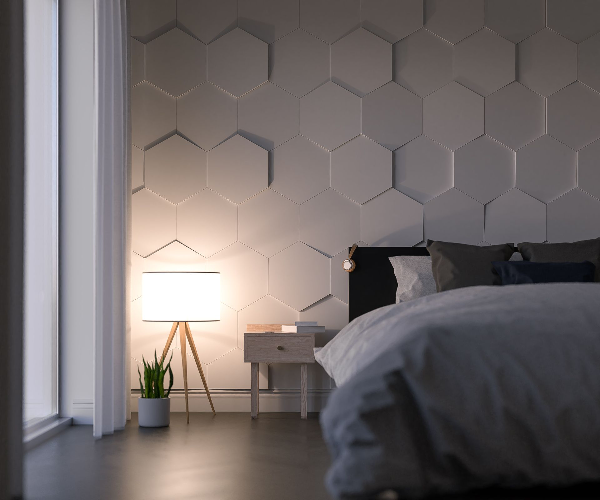 D Interiors Mała Sypialnia: Hexagon Slope By Kalithea #panels #panele #3Dpanels