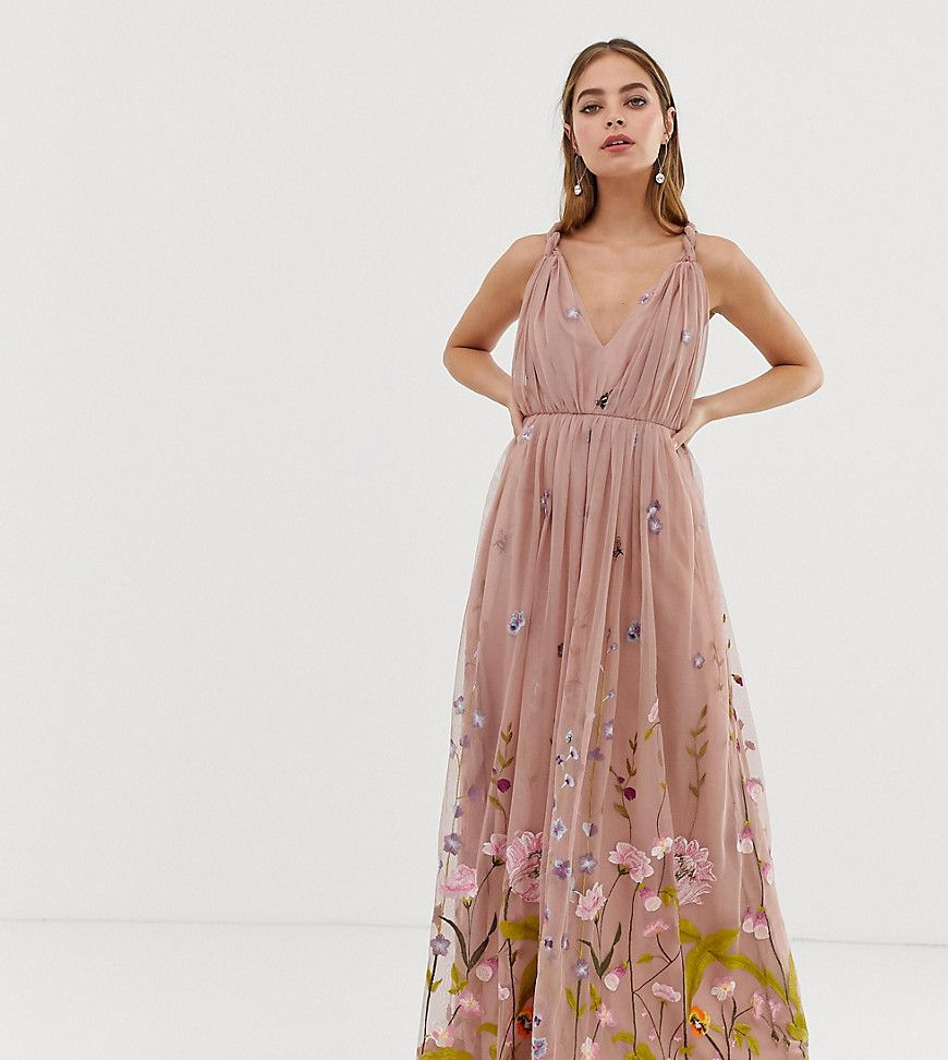 asos design petite tulle maxi dress with delicate floral