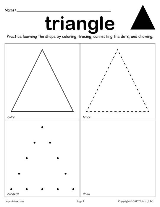 12 Shapes Worksheets Color Trace