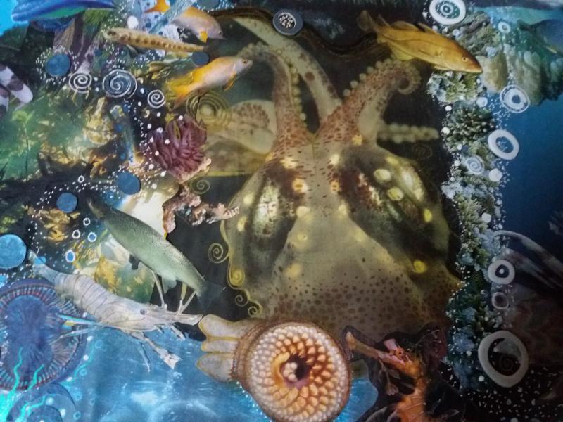 teil einer größeren unterwasserwelt collage mit moosgummi