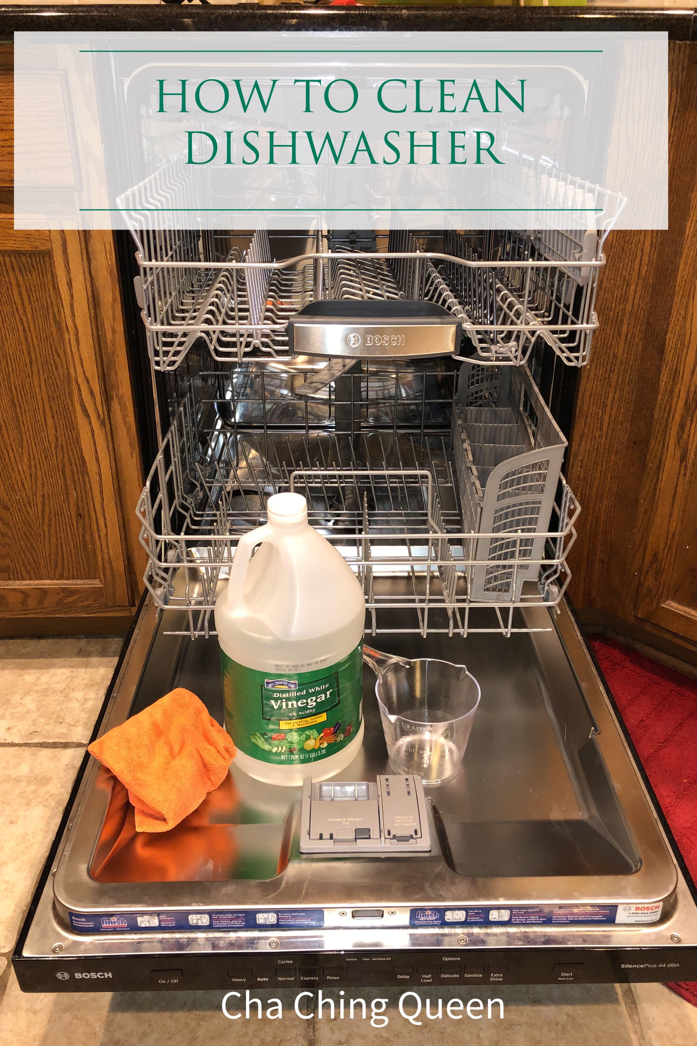 How To Clean Your Dishwasher With Vinegar And Cleaning Tablets Cha Ching Queen Cleaning Your Dishwasher Clean Dishwasher Cleaning Tablets