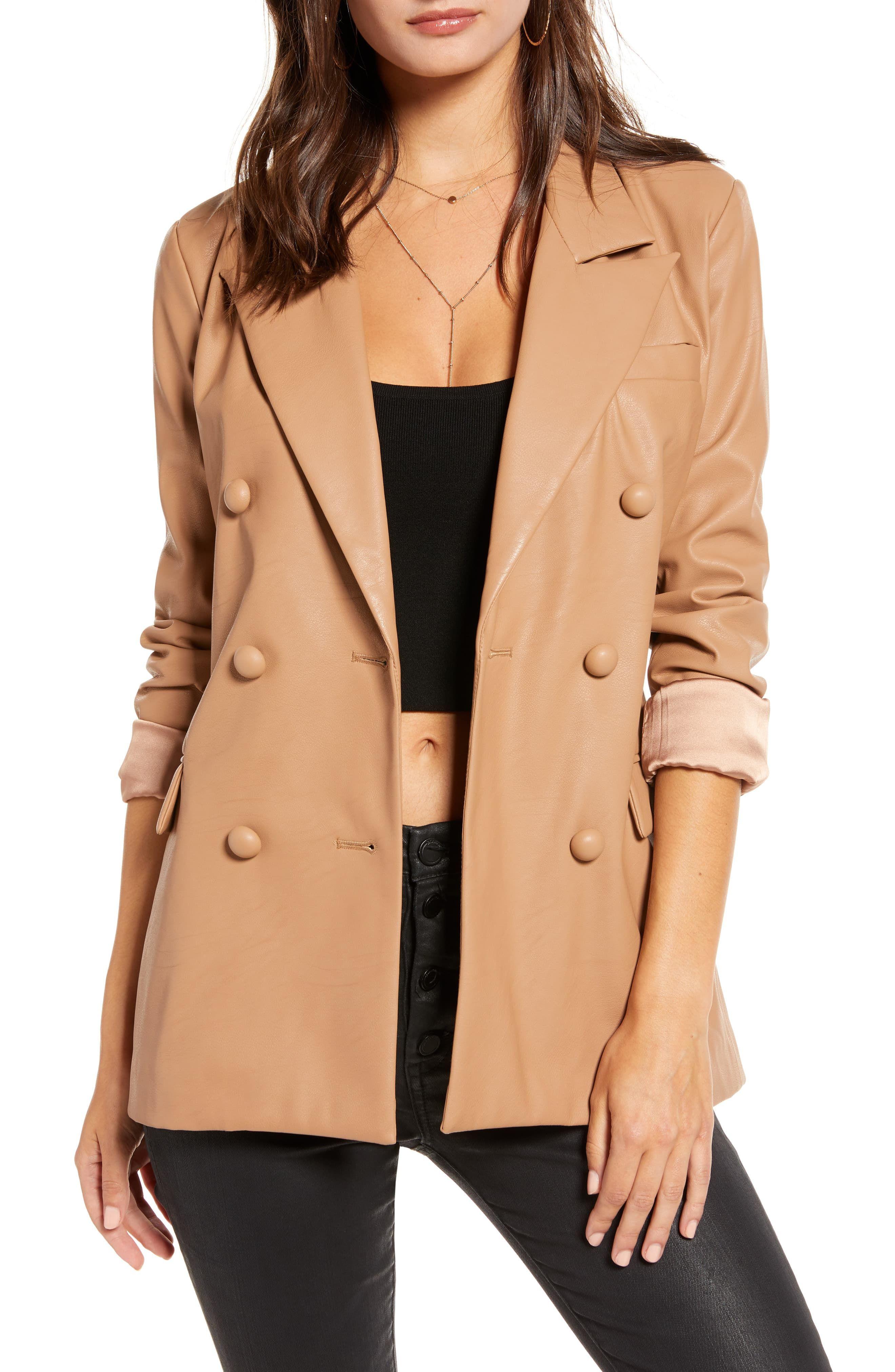 Women's Blanknyc Faux Leather Blazer, Size Medium Beige
