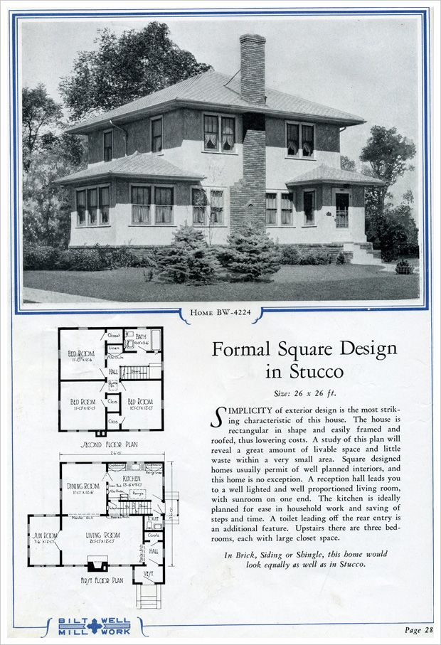 1924 Bilt Well Homes Of Comfort Modern Foursquare In Stucco Craftsman House Plans Vintage House Plans Sims House Design