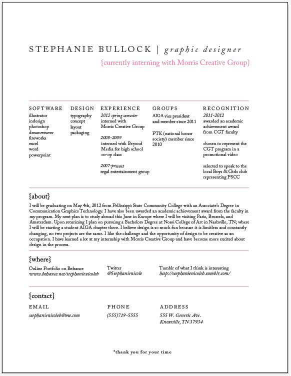Stephanie BullockResume + Design Process Infographic neat way to make your resume  stand out but still work for any job aplication