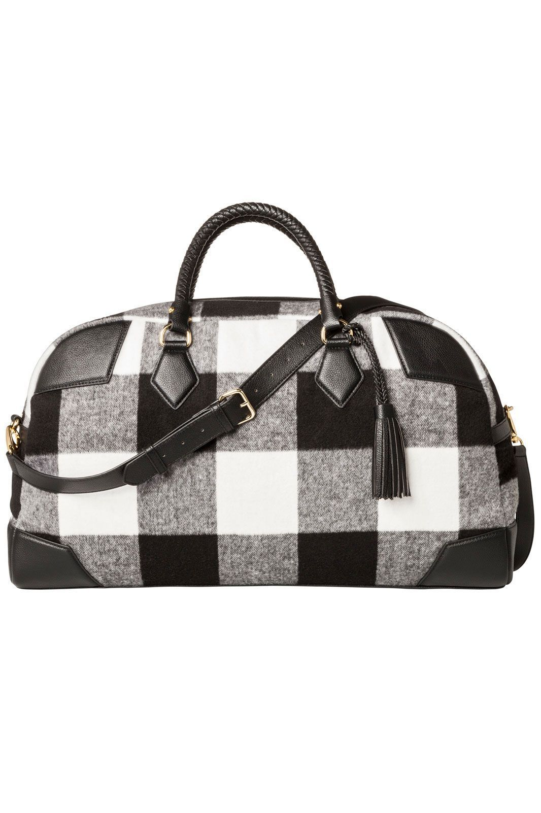 3e796f9876 Adam Lippes for Target Shearling Weekender Bag in Black White Plaid
