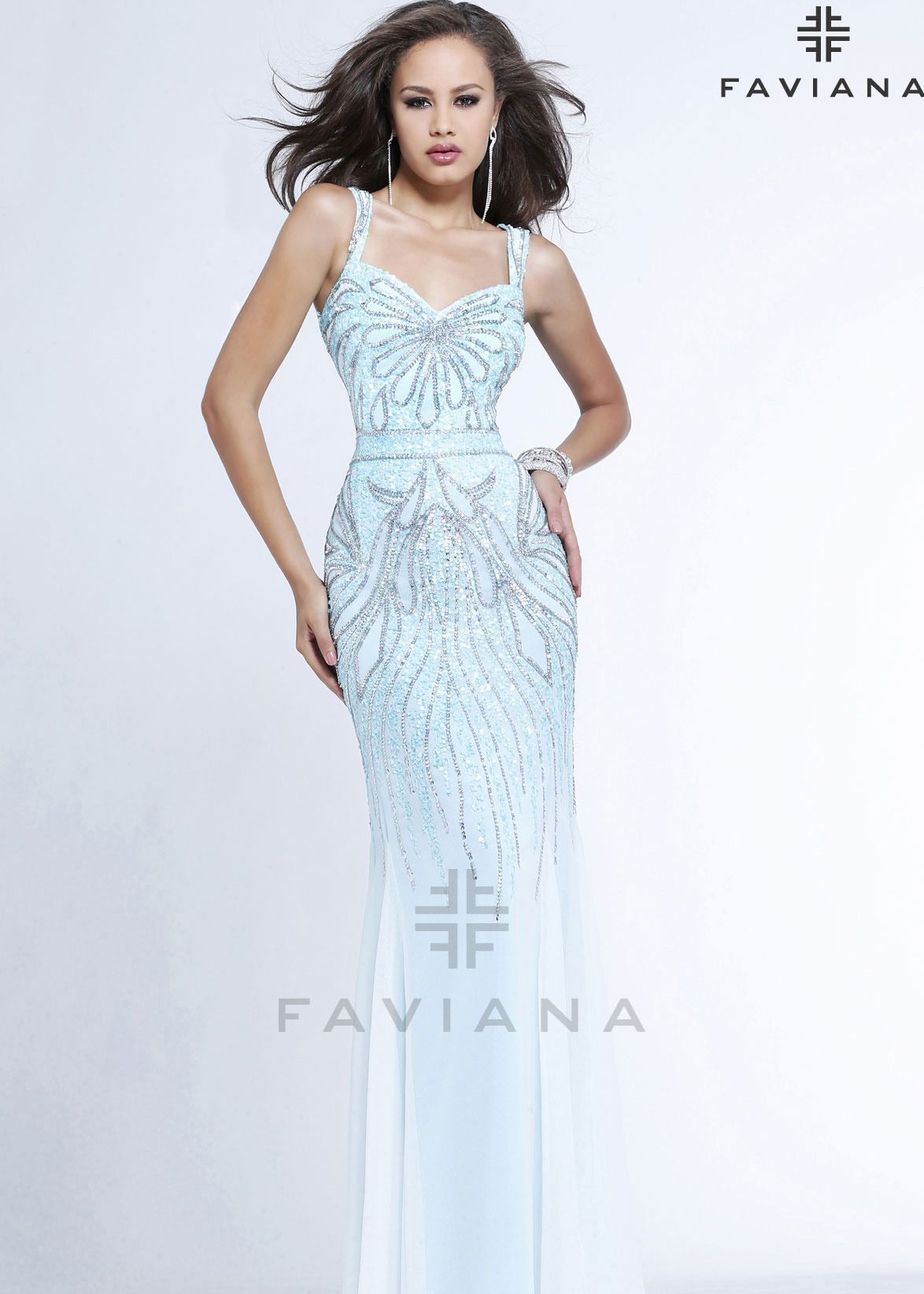 Faviana glamour s beaded evening gown