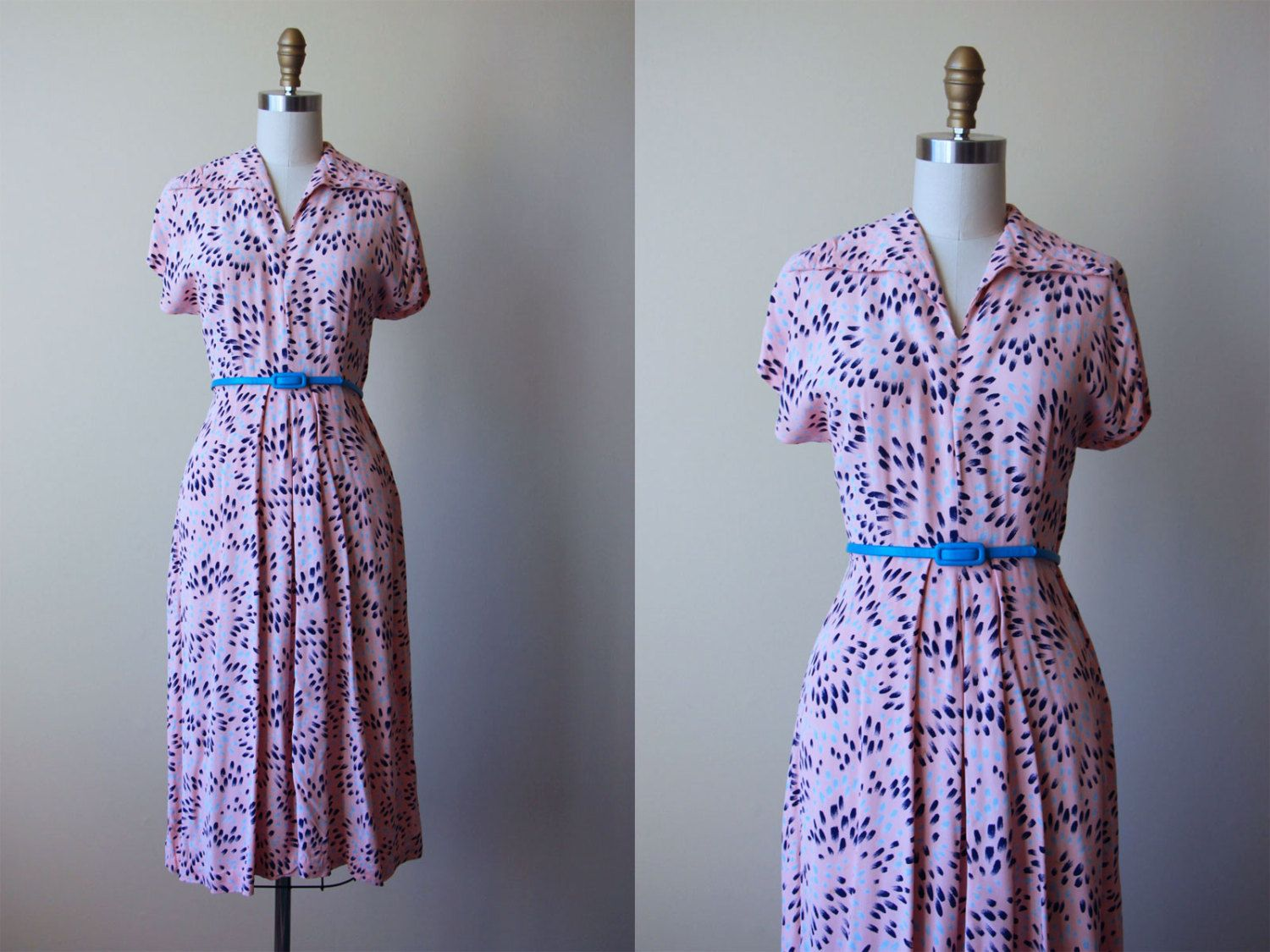 1940s Dress - Vintage 40s Dress - Pink Navy Blue Rayon Abstract Flower Burst…