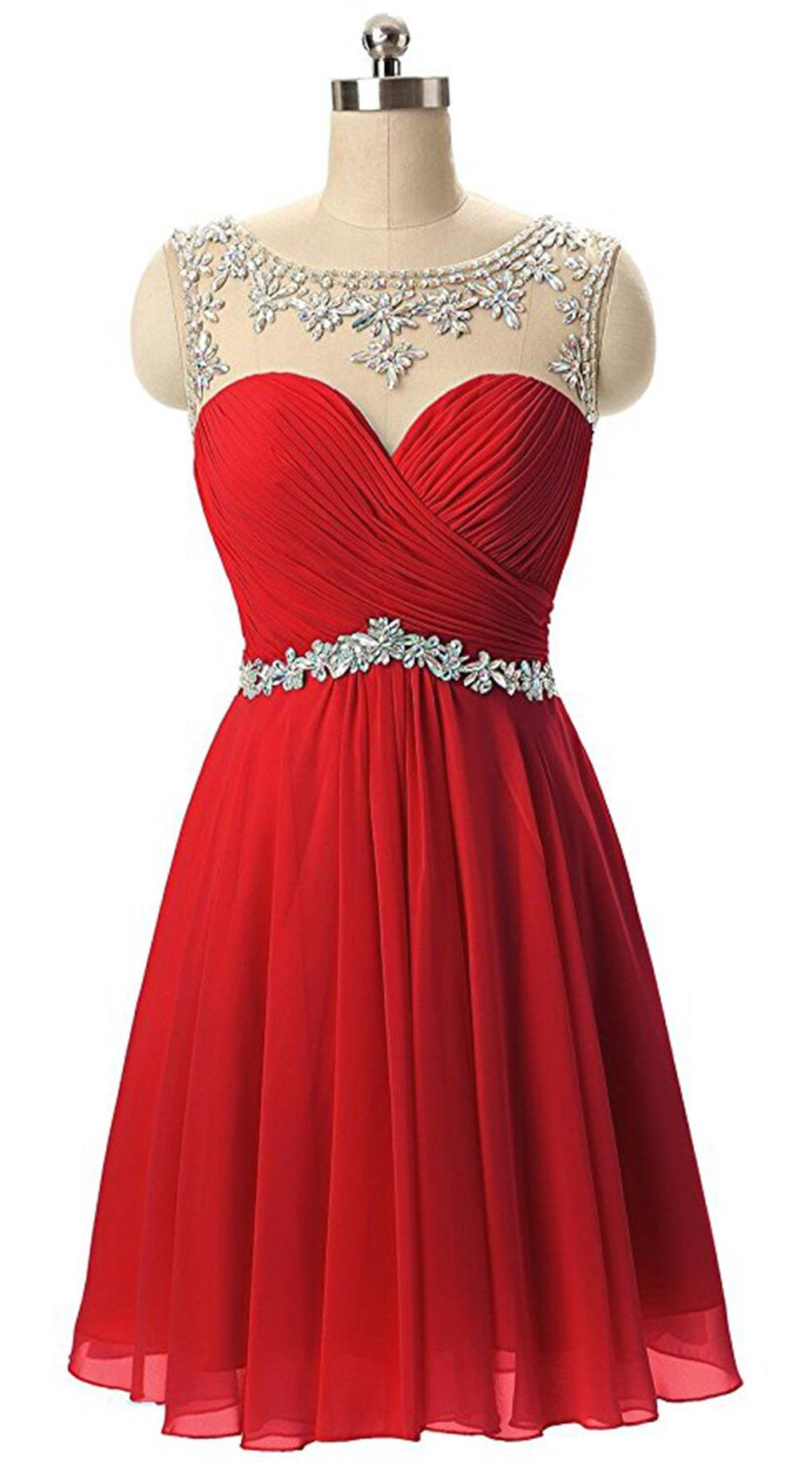 f5e1dabce80b Butmoon Womens Chiffon Beaded Homecoming Dresses short Prom Dresses Red US4  *** Visit the image link more details. (This is an affiliate link and I  receive ...