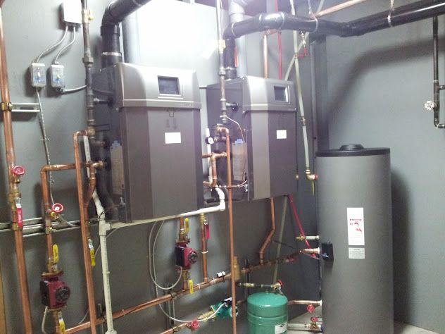 A twin NTI Trinity LX150 boiler package with a Trin & Stor indirect ...