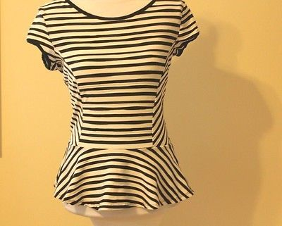 Striped-peplum-shirt-top-blouse-for-juniors-black-and-white-stripes-size-L