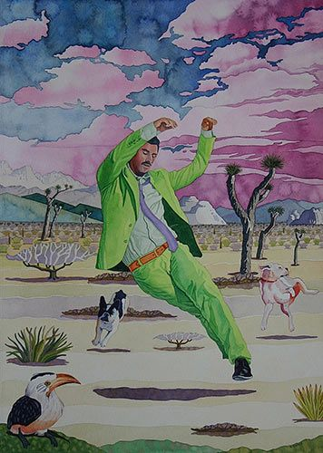 """PleinAir Magazine - PleinAir Salon Winners Announced """"The Curious World of Reynaldo and His Twist of Lime Suit,"""" by R. Mike Nichols, watercolor, 14 x 20 in."""