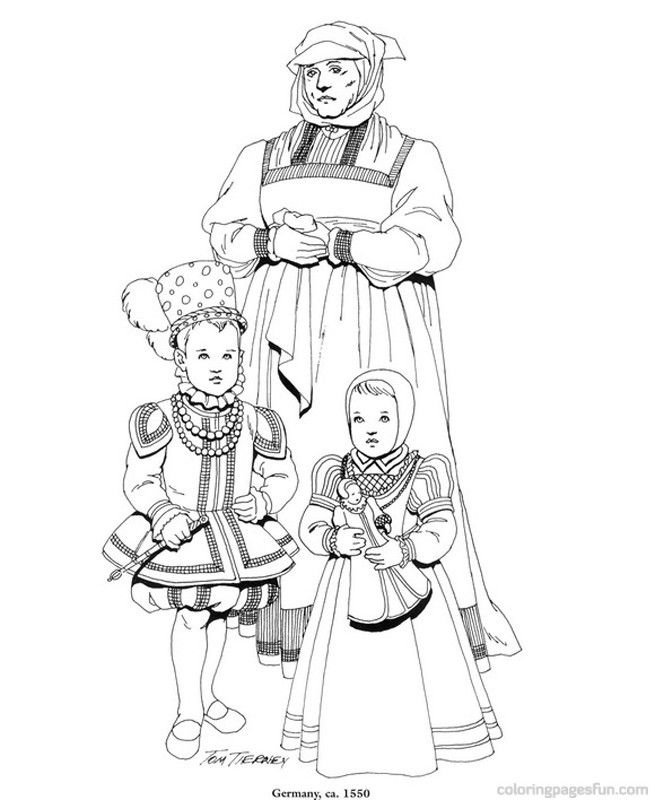 Renaissance Costumes and Clothing Coloring Pages 34 | Coloring ...