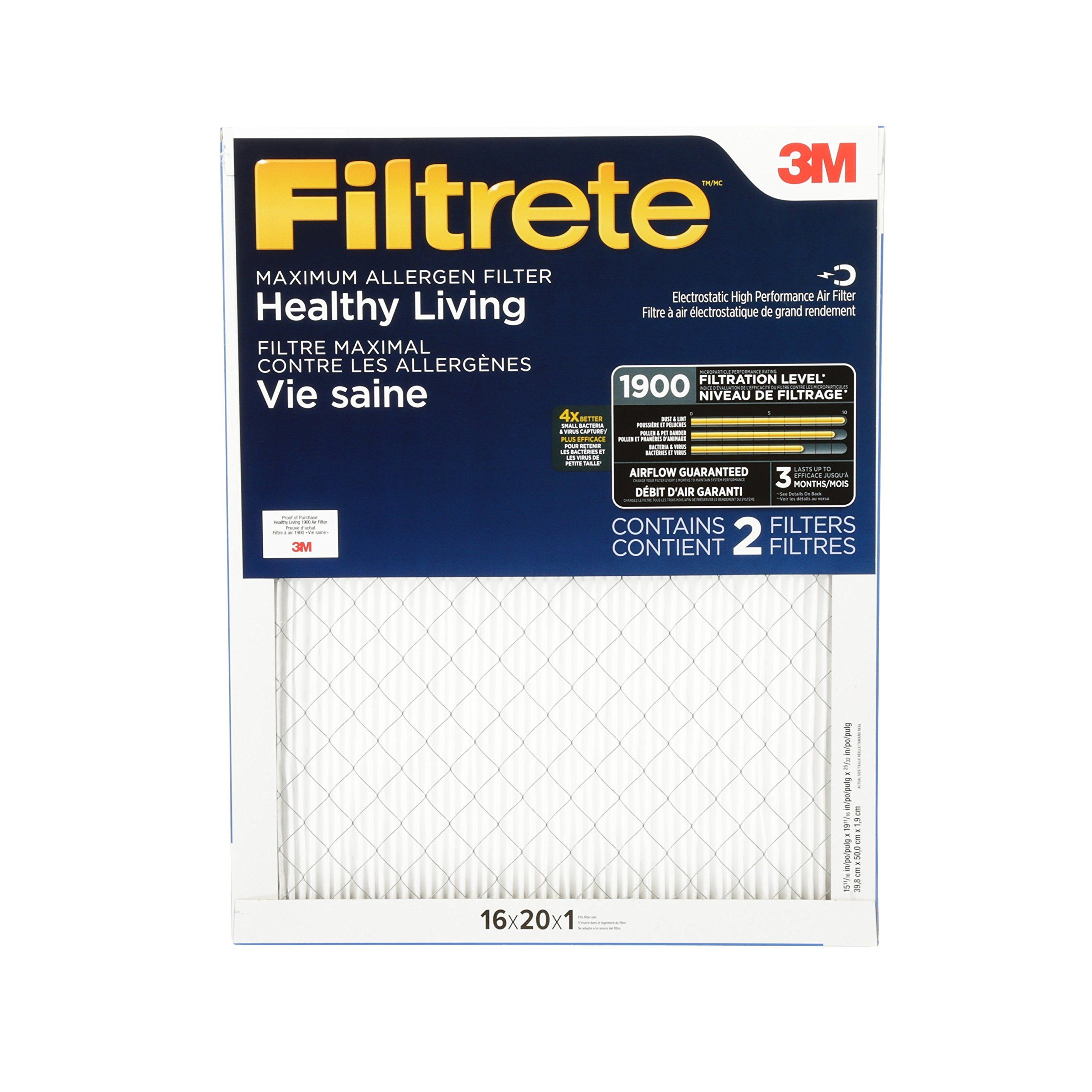 Filtrete Mpr 1900 16 X 20 X 1 Healthy Living Ultimate Allergen Reduction Hvac Air Filter 2pack Visit The Image Link More Deta Hvac Air Filters Healthy Living