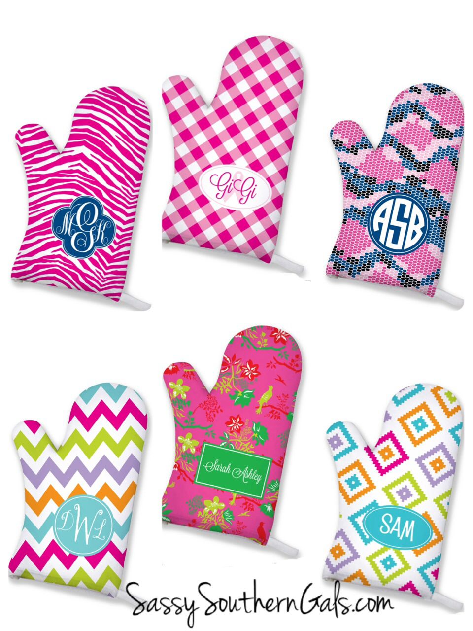 Monogrammed / Personalized Oven mitts and pot holders make for a ...