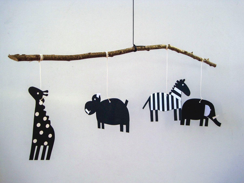 Newborn Baby Animal Mobile Black And White Handmade Paper And Wood