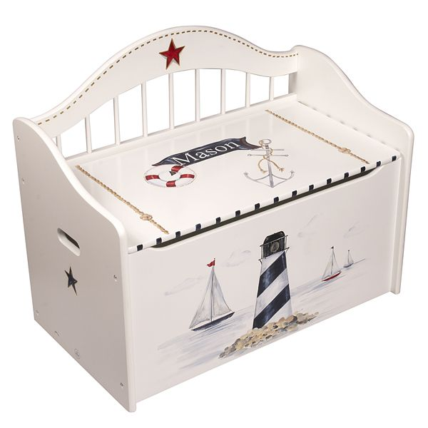 white nautical wooden handpainted storage toy chest. Black Bedroom Furniture Sets. Home Design Ideas