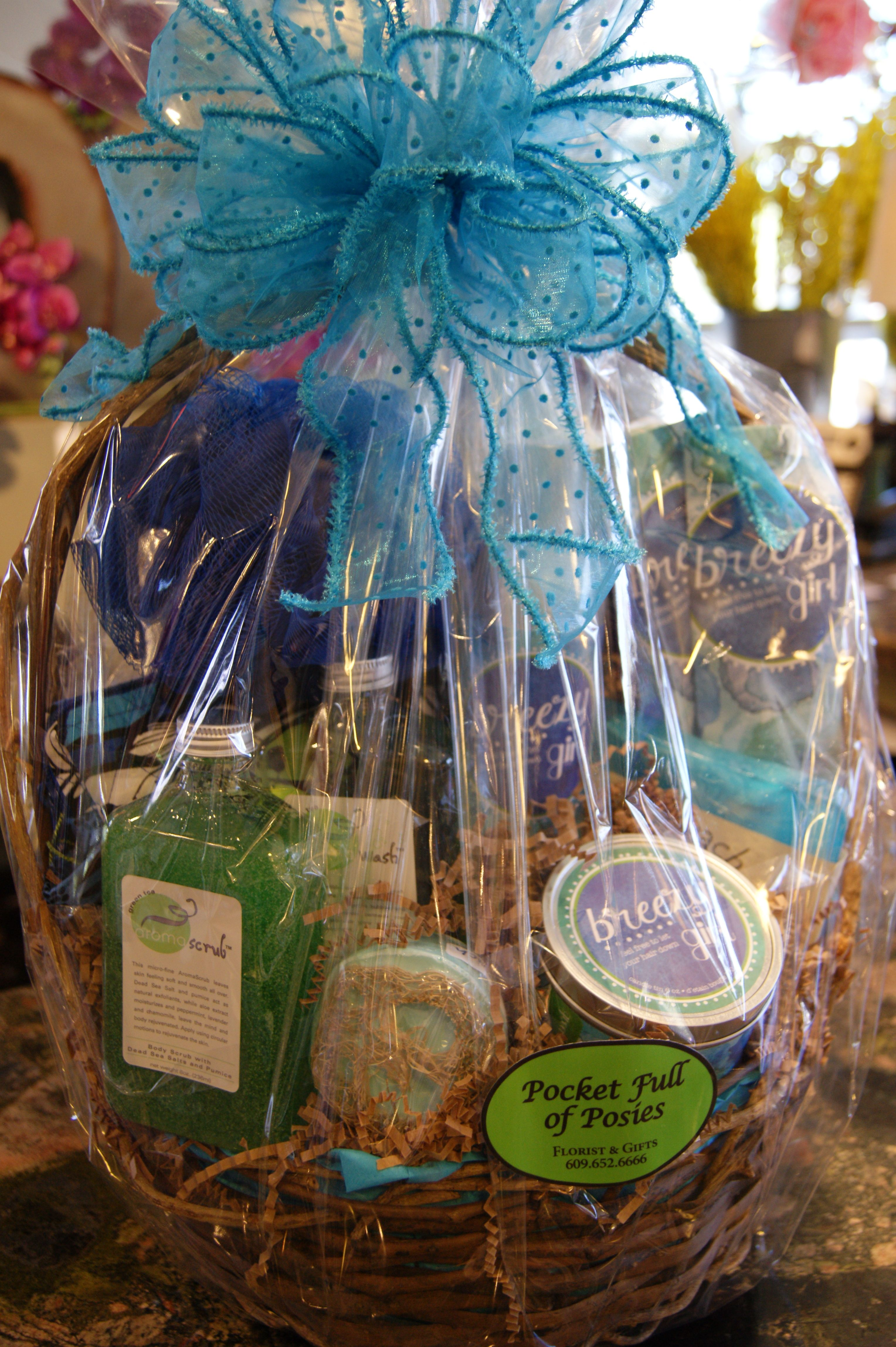 Custom spa baskets available at Pocket Full of Posies Florist & Gifts (Galloway, New Jersey 08205). Pricing starting at $50.00. Vera Bradley, Greenleaf Products, Aroma Scrubs & Wash, & Loova Soaps all available!!! CALL TODAY! 6096526666