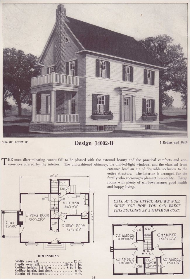 1925 Colonial Revival House Plans Classic Home Two story 1925