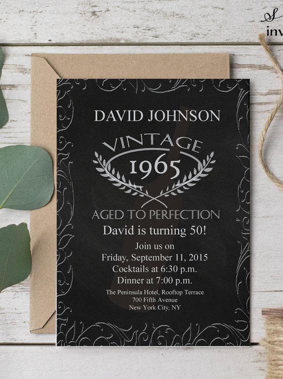 aged to perfection birthday invitation 50th birthday invitation