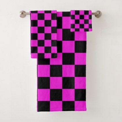 Hot Pink And Black Checkerboard Pattern Bath Towel Set Zazzle