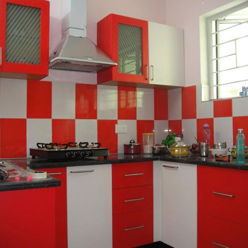 Modular Kitchen Design Red And White With images   Black ...