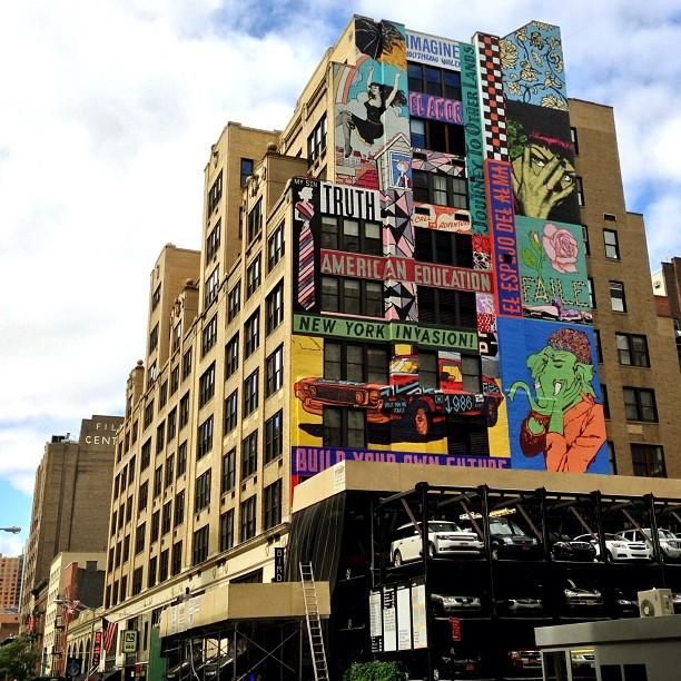 Artist collective Faile puts up it's largest street mural to date in #NYC. #streetart