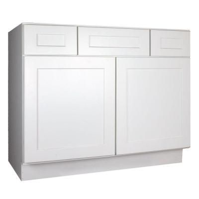 Lakewood Cabinets Shaker Ready To Assemble 48x34 5x21 In Plywood Vanity Sink Base With 2 Soft Close Doors And 2 Drawer In White Sw Vsd48 The Home Depot Bathroom Vanity Base Single Bathroom Vanity