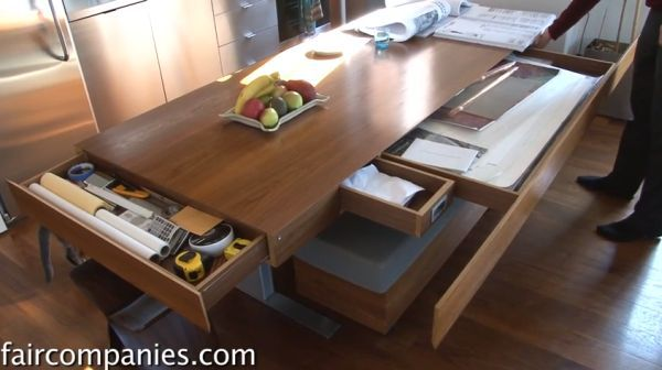Compact Apartment With Folding Walls And Tons Of Hidden Storage Video Dining Table With Storage Kitchen Table Small Space Bespoke Dining Table