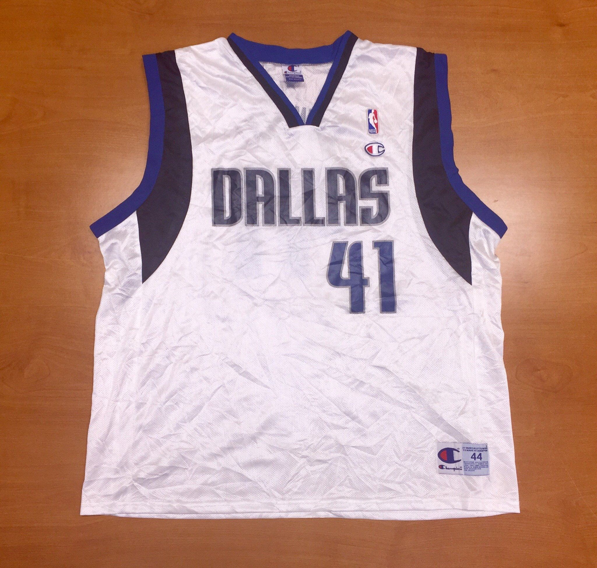 huge discount 61223 f13cb Vintage 1990s Dirk Nowitzki Dallas Mavericks Champion Jersey ...